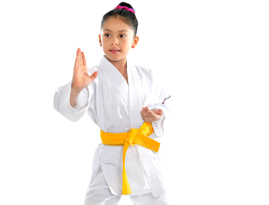 young girl in karate stance