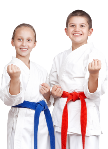 two happy martial arts students